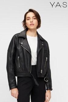 Y.A.S Black Leather Kolsar Biker Jacket