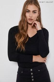 Mint Velvet Black V-Neck Long Sleeved Top