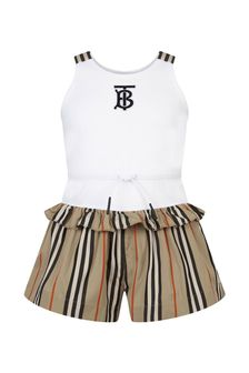 Burberry Kids Girls Beige Cotton Playsuit