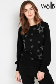 Wallis Petite Black Star Embellished Jumper