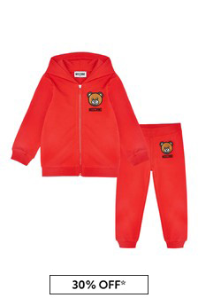 Moschino Kids Baby Red Cotton Tracksuit