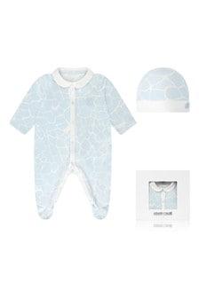 Baby Boys Blue Cotton Babygrow Gift Set