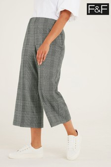 F&F Check Ponte Crop Trousers