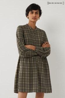 Warehouse Green Check Mini Smock Shirt Dress