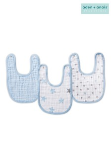 aden + anais Essentials Blue Snap Bibs Three Pack