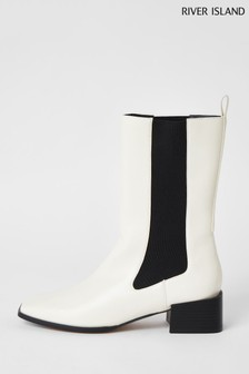 River Island Cream Three Quarter Gusset Boots