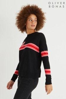 Oliver Bonas Black Stripe Bruno Knitted Jumper