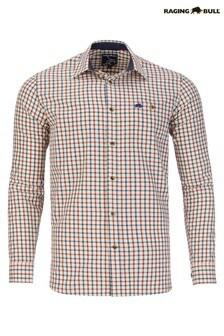 Raging Bull Cream Long Sleeve Window Pane Brushed Twill Shirt