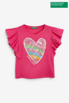 Benetton Graphic Frill Sleeve Top