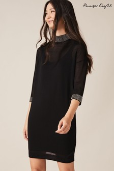 Phase Eight Black Demi Diamanté Collar Dress