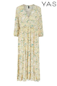 Y.A.S Sustainable Yellow Floral Print Stencil Dress
