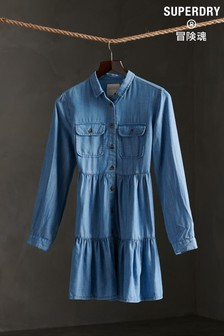 Superdry Blue Tiered Shirt Dress