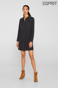 Esprit Long Sleeved Denim Dress With Pocket And Button Details