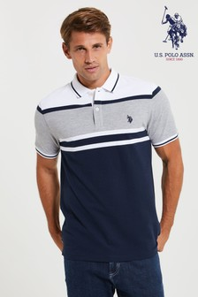 U.S. Polo Assn. Grey Border Varsity Pique Poloshirt