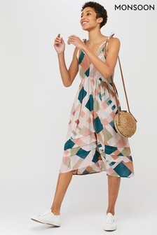Monsoon Natural Harlequin Print Midi Dress