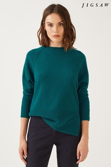 Jigsaw Soft Teal Button Back Batwing Jumper