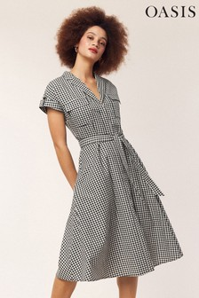 Oasis Black Gingham Shirt Dress