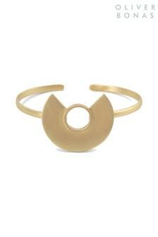 Oliver Bonas Gold Tone Hamilton Geo Curve Brass Cuff Bangle