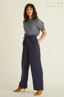 Oliver Bonas Blue Wide Leg Trousers