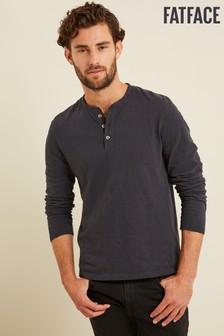 FatFace Grey Foxley Slub Henley T-Shirt