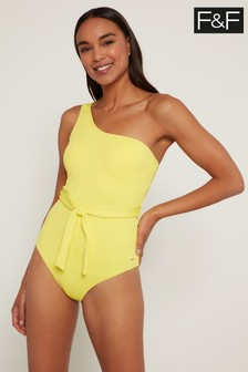 F&F Yellow One Shoulder Swimsuit