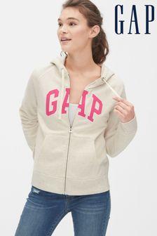 Gap Oatmeal Logo Zip Through Hoody