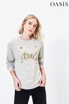 Oasis Grey Étoile Slogan Sweater