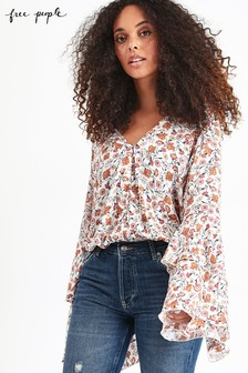 Free People White Floral She's Dainty Bodysuit