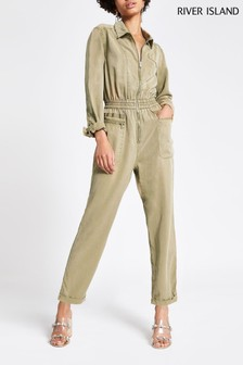 River Island Beige Light Susie Boilersuit