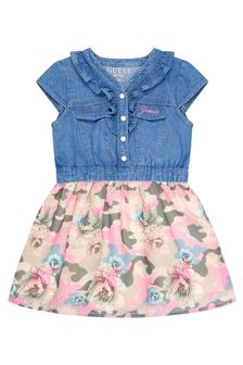 Guess Baby Girls Blue Cotton Dress