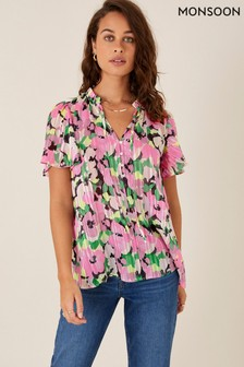 Monsoon Pink Floral And Metallic Pleated Blouse