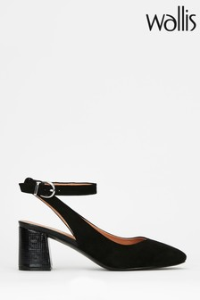 Wallis Caramel Black Ankle Strap Feature Heels