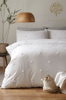 Appletree Tufted Spot Dot Garden Cotton Duvet Cover and Pillowcase Set