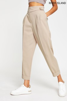 River Island Beige Balloon Shaped Peg Trousers