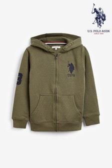 U.S. Polo Assn. Green Large Double Horsemen Sweat Zip Hoody
