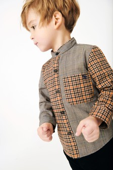 Long Sleeve Spliced Check Grandad Shirt (3mths-7yrs)