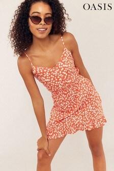 Oasis Orange Heart Print Button Dress