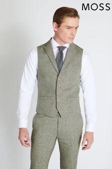 Moss London Sage Herringbone Tweed Waistcoat