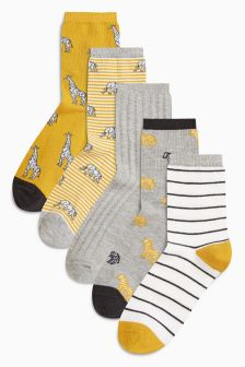 Animal Stripe Pattern Ankle Socks Five Pack