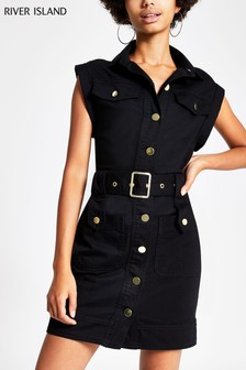 River Island Black Sl Rosie Belted Dress