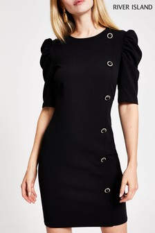 River Island Black Toffee Button Puff Sleeve Dress