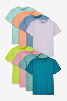 8 Pack Plain Short Sleeve Jersey T-Shirts (3-16yrs)