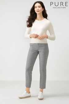 Pure Collection Grey Tailored Ankle Length Trousers