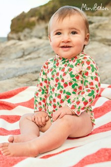 Boden Pink Long Sleeved Frilly Swimsuit