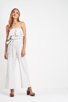 Stripe Cold Shoulder Linen Jumpsuit