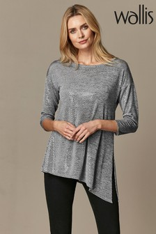 Wallis Grey Sequin Marl Asymmetric Top
