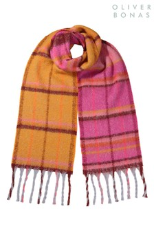 Oliver Bonas Sunset Check Yellow Heavyweight Scarf