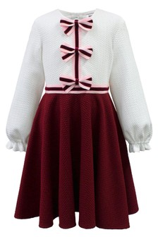 David Charles Ivory And Red Bow Dress