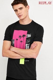 Replay® T-Shirt mit Palmendruck