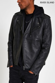River Island Grey Vintage Jersey Hood Jacket